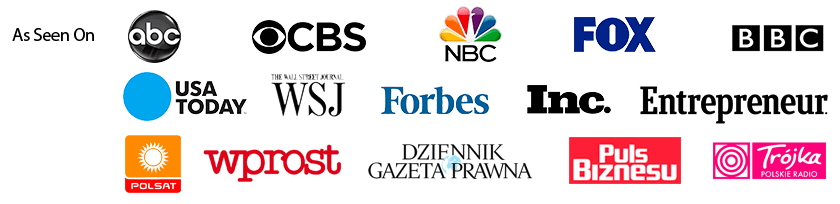 Zobacz go też w ABC, CBS, NBC, FOX, BBC, USA Today, Wall Street Journal, Forbes, The Telegraph